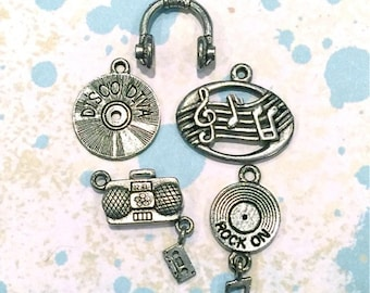 Collection of Music Charms- 5 pieces-(Antique Pewter Silver Finish)