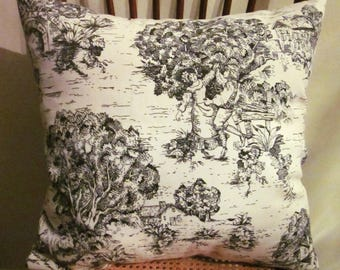 Toile Pillow Cover, Decorative Pillow, Black Toile and Ticking, Cottage Chic, French Country