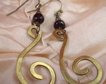 Hammered Brass Swirls with Garnet