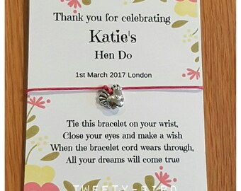 Handmade Personalised Hen Night / Party / Friendship / Wish Bracelets party favours