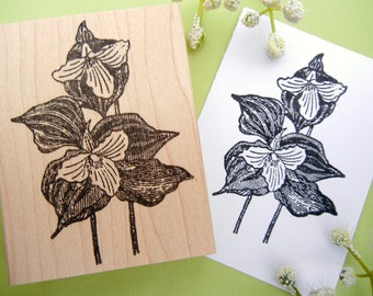 Trillium Wild Flower Rubber Stamp  - Handmade by BlossomStamps
