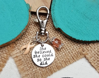 PE-3 Uterine Cancer Endometrial Cancer Awareness Keychain Gift For Her She Believed She Could So She Did Charm Key Chain