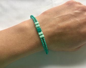 Turquoise Bead Bracelet, Turquoise Beaded Bracelet, Teal Bead Bracelet, Teal Beaded Bracelet, Square Turquoise Beaded Bracelet, Bracelet