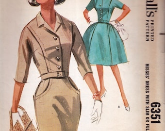 1962 McCall's 6351 slim or full skirt dress Sewing Pattern... size 12, 32 bust