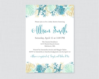 Nautical Baby Shower Invitation Printable Or Printed   Beach Themed Baby  Shower Invites   Blue And
