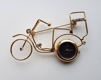 Watch Bicycle Brooch Gold Tone with Rhinestones