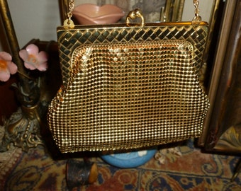 Vintage Whiting And Davis Gold Mesh Handbag / Purse From The 1950's