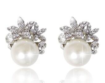 "PAIR Olive Leaf Floral Pearl Crystal Bridal Wedding Tunnels Gauges Plugs Earrings 0g 00g 7/16"" 1/2"" 9/16"" 5/8"" 11/16"" 8mm 9mm 11mm 12mm"