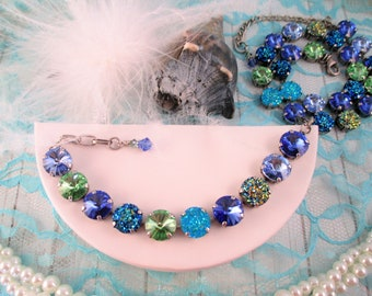 """Swarovski crystal necklace, bracelet, earrings, """"Heart of the Ocean"""", Druzy and crystals, Blue and Green crystal necklace and bracelet"""