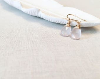 Rose Quartz and Gold Drop Earrings - 14k Yellow Gold Fill Wire Wrapped Faceted Genuine Pale Pink Rose Quartz Drops Elegant Modern Bridal