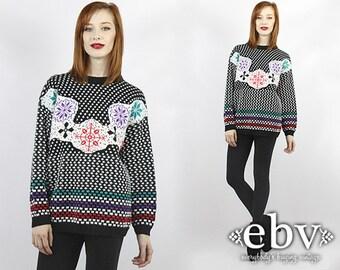Snowflake Sweater Ski Sweater 80s Sweater 1980s Sweater Vintage Sweater Men's Sweater Women's Sweater Oversized Sweater Oversized Knit