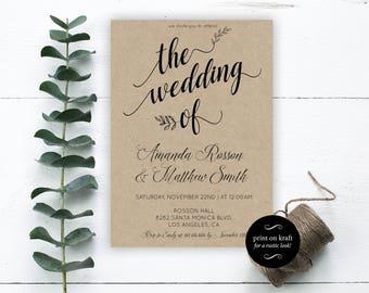 DIY Wedding Invitation - The Wedding Of - Wedding Reception Printable - Simple Wedding Invitation - Downloadable wedding #WDHSN8196
