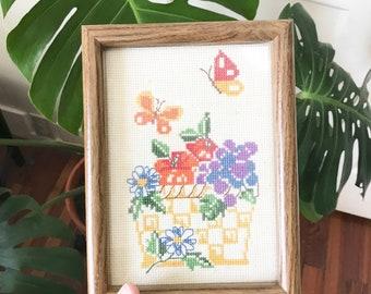 Vintage Cross stitch Butterfly Picture  • Framed Needlework • Fruit Basket  • Modern Boho Decor