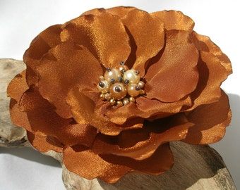 Golden Brown Flower Hair Clip  | Golden Brown Gentle Floral Hair Pin | Fabric Flower Hair Pin