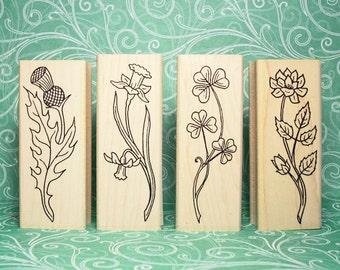 Celtic Garden Mounted Rubber Stamp Set of 4 Thistle Daffodil Shamrock Rose