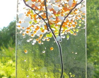 Small White and Orange Tree Fused Glass Suncatcher. White and Orange Tree Suncatcher.  Glass Suncatcher.  Glass Art. Wall Art