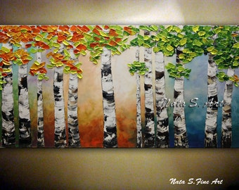 Modern Art Painting Abstract Landscape Painting Palette Knife Art Impasto Birch Forest Textured Painting Contemporary Wall Art by Nata S.