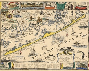 Long Beach Island, New Jersey - Vintage Map (Art Print - Multiple Sizes Available)