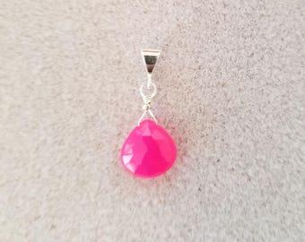 Carolina Sundance  Natural  Hot Pink Chalcedony Briolette  Pendant