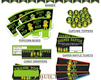 Ninja Turtles Chalkboard Baby Shower Package/ Instant Download/ Party  Supplies/Birthday