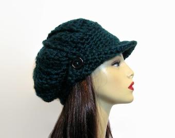 Crochet Newsboy Hat Crochet Teal Slouchy adult Newsboy Cap Blue Hat with Visor Teal Newsboy Teal Crochet Cap with Visor teal  women's hat
