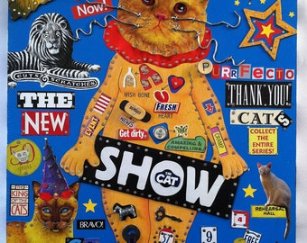 Recycled Wooden Wall art assemblage, Found Objects, Cat, Colorful Art