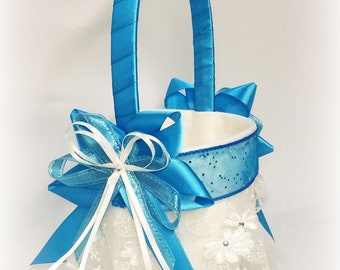 Aegean Blue Flower Girl Basket. Blue Wedding Spa Flower Girl Basket. Turquoise Flower Girl Basket. Disney Blue Wedding Flower Girl Basket.