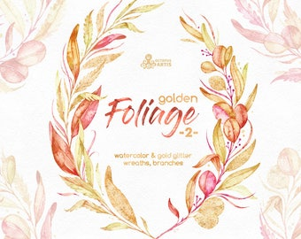 Golden Foliage 2. Wreaths & Branches. Watercolor floral clipart, leaves, autumn, fall, wedding, bridal, red, glitter, planner, minimalistic