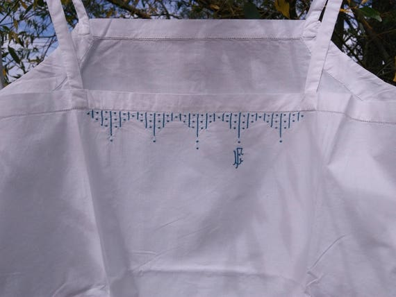1930's Deco French White Cotton Slip Handmade Unworn Lingerie Blue Monogram and Hand Embroidered Medium Large Size #sophieladydeparis