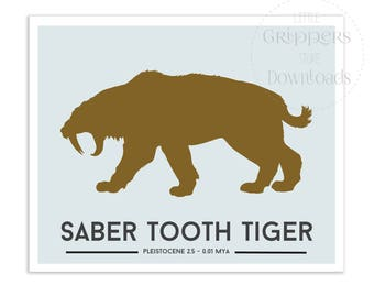 Dinosaur printable, Saber Tooth Tiger, Downloable prints for kids, Dinosaur decor, Toddlers wall decor, Jurassic print, Gifts for kids