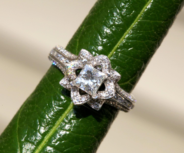 Gorgeous unique flower rose princess cut diamond engagement zoom izmirmasajfo Choice Image