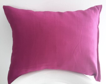 Organic purple linen pillow cover