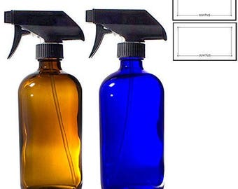 Cobalt Blue and Amber Boston Round 16 oz Thick Glass Spray Bottle Set + Labels ****FREE SHIPPING****