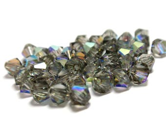 4mm Swarovski Crystals #5301 Black Diamond AB Bicone Beads - 92 Crystals