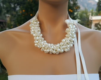 Pearl Necklace, Wedding Necklace, Bridal Jewelry Bridesmaids gifts.