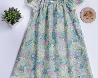 Seaside dress, girls dress, summer dress, lace, green, toddler dress, size 00, size 2, size 3