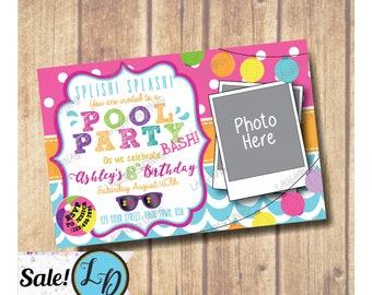 SALE!!! Pool Birthday Party with Photo Invitation; Pool Party invitation with photo