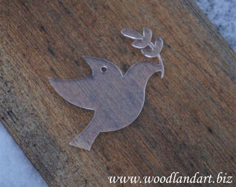 Acrylic Dove and Olive Branch Tag, Momento or Decoration, plain or engraved