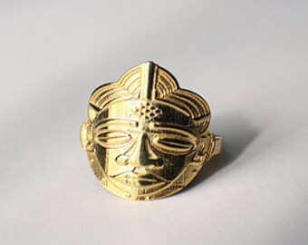 Thin Band African Mask Ring, MADE-TO- ORDER, for Women
