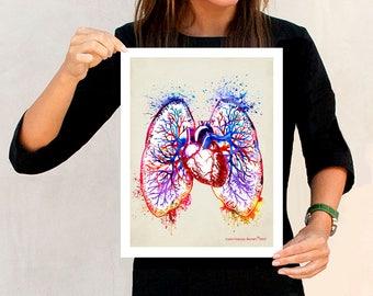 "Fine Art Print - ""Watercolor Pulmonary Vasculature poster"" 11""x14"",Anatomy Medical print, Pulmonologist, Nurse Graduation gift, Lungs print"