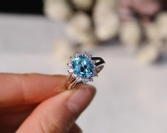 Oval Topaz Ring Topaz Engagement Ring/ Wedding Ring Anniversary Ring Promise Ring