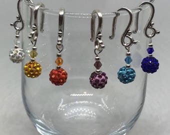 Multicolor Pave Wine Glass Charms Featuring Swarovski Crystals - (Set of 6)