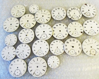1 Vintage Porcelain or Ceramic Waltham, Or Am Waltham, Pocket Watch Dial Watch Parts, For Jewelry, Steam punk Art Gear 3E173