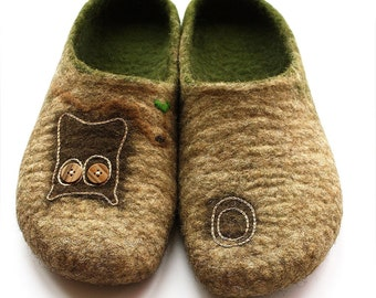 OOAK felted slippers Forest Story ECO