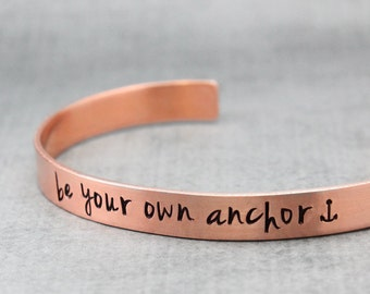 Anchor Cuff, Copper Bracelet, Inspiration Cuff, Encouragement, Hand Stamped Cuff, Handstamped Jewelry, Anchor Bracelet