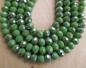 Set of 20 glass abacus beads faceted imitation jade 8 x 5.5 mm color: dark green.