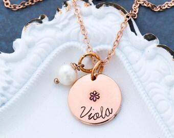 Flower Necklace Flower Girl Gift • Rose Gold Necklace Flower Girl Present Custom Wedding Gift • Pink Girl Necklace Pink Pearl Necklace
