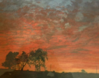 """Watercolor landscape painting original signed """"Red Sky Delight"""" 9.5"""" by 13"""""""