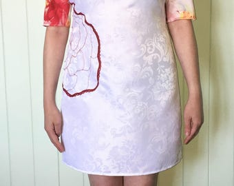White Satin & Red Floral Scoop Neck A-Line Shift Dress Size 14