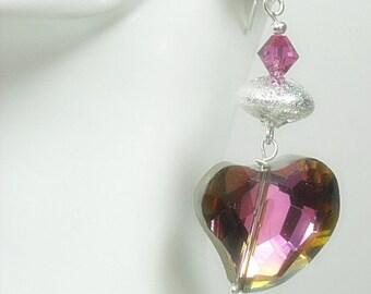 Sale  Heart Earrings - Dangle Earrings - Heart Jewelry - Czech Glass Heart Earrings - Valentines Day - Fuchsia Flash - Boho - Hippie